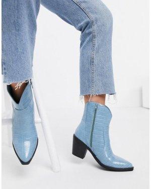 London Rebel western ankle boots in blue croc