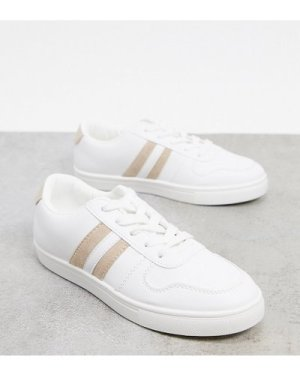 London Rebel wide fit lace up trainers-White