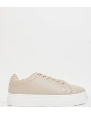 London Rebel wide fit flatform lace up trainer in beige