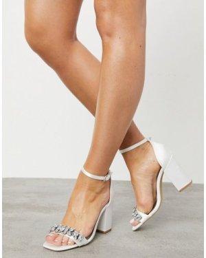 London Rebel embellished bridal block heel sandal in ivory-White