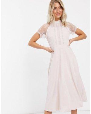 Liquorish a line lace detail midi dress in mink-Pink