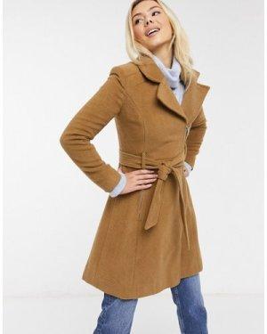 Liquorish swing coat with zip front in brown