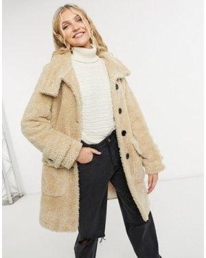 Liquorish midi teddy coat with buttons in beige