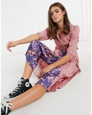 Liquorish midi dress in pink polka dot and floral print