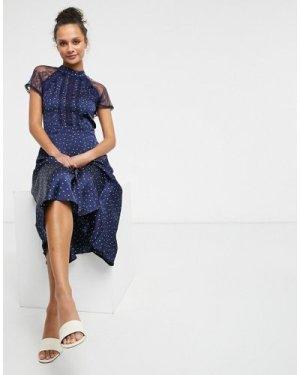 Liquorish a line lace detail midi dress in navy spot
