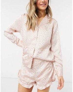 Liquorish nightwear jacquard pyjama shorts in blush pink