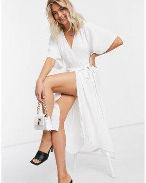 Liquorish kimono sleeve wrap dress in white