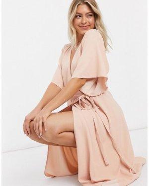 Liquorish wrap dress in pink