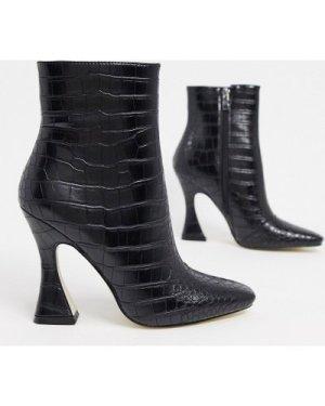 RAID Kate flared heel ankle boots in black croc
