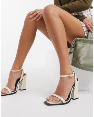 RAID Rogue square toe heeled sandals in bone-Beige