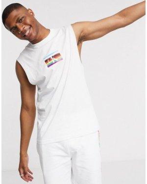 Calvin Klein Jeans Pride small rainbow flag logo tank in white