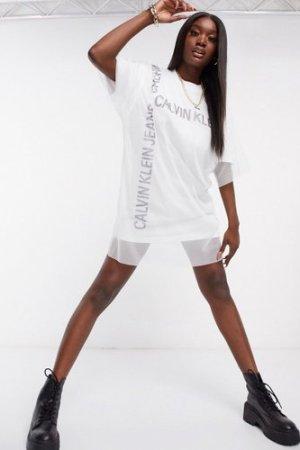 Calvin Klein Jeans grid logo mesh t-shirt dress in white