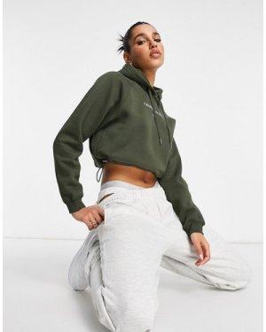 Calvin Klein Jeans front logo cropped hoodie in khaki-Green