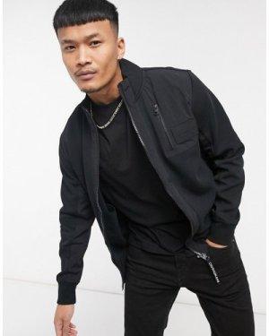 Calvin Klein Jeans mixed media zip through sweatshirt in black