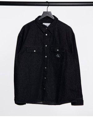 Calvin Klein Jeans oversized denim shirt in dark wash-Black