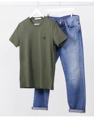 Calvin Klein Jeans essential logo t-shirt in khaki-Green