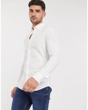 Calvin Klein Jeans walshner extra slim long sleeve shirt-White