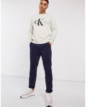 Calvin Klein washed slim chinos-Navy