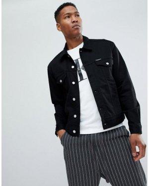 Calvin Klein Jeans stretch denim jacket with logo back patch-Black
