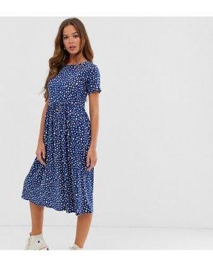 Wednesday's Girl midi smock dress in smudge spot print-Navy