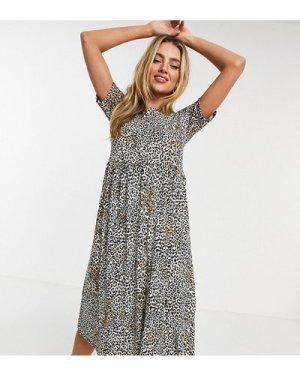 Wednesday's Girl midi smock dress in leopard print-Brown