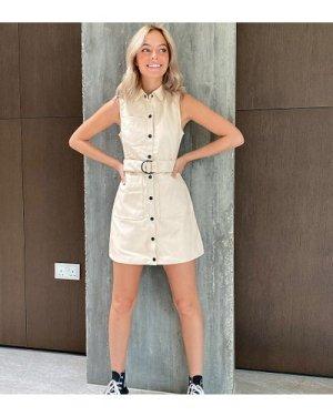 Miss Selfridge Petite faux leather dress in cream-Black