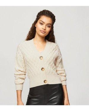 Miss Selfridge Petite twinset cable knit cardigan in oatmeal-Beige