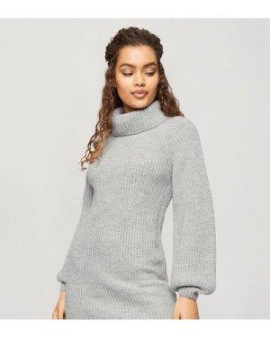 Miss Selfridge Petite roll neck jumper dress in grey