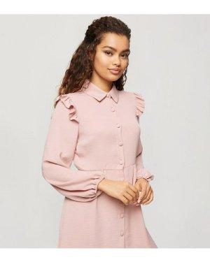 Miss Selfridge Petite shirt dress with frill detail in blush-Pink
