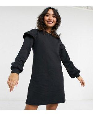 Miss Selfridge Petite frill sleeve sweat dress in black