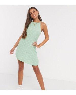 Miss Selfridge Petite polka dot halterneck mini dress in green