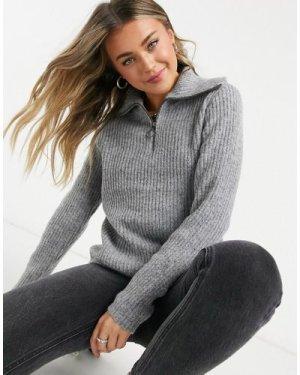 Object zip detail jumper in grey