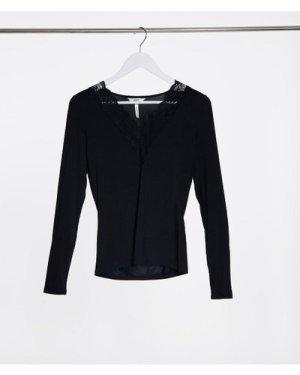 Object V neck long sleeve top in black