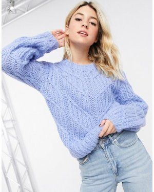 Object hand knitted wool cable knit jumper in blue