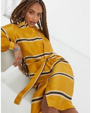 Object Katja Striped Shirt Dress in Yellow