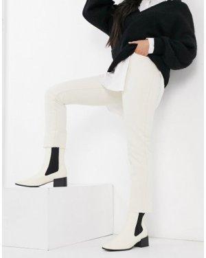 Object Tora high waist straight leg jeans in white