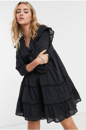 Object tiered mini dress in black
