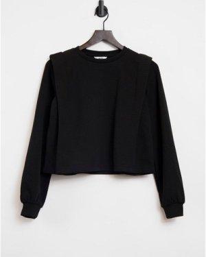 Object sweatshirt with shoulder detail in black