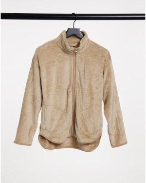 Lindex fleece zip front lounge top in beige