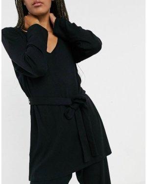 Lindex Filippa eco viscose rib wrap front lounge top in black