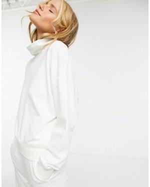 Lindex Karen organic cotton fleece turtleneck lounge sweat in off white