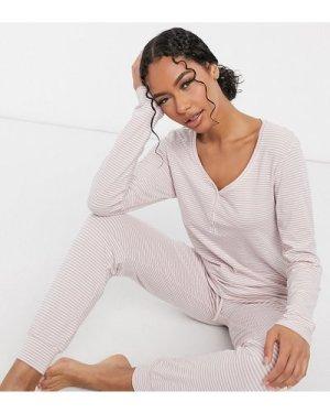 Lindex Exclusive Annelie organic cotton long sleeve stripe pyjama top in pink