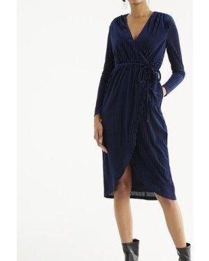 London striped velvet wrap dress