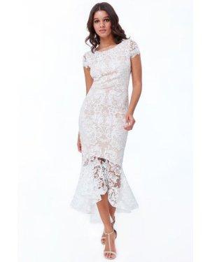 Goddiva - Lace High Low Maxi Dress - White