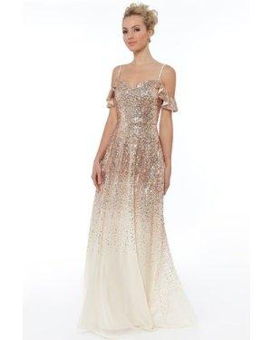 Flutter Sleeve Sequin & Chiffon Maxi Dress - Champagne