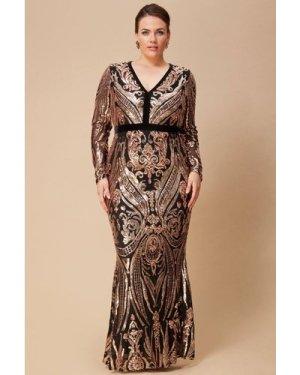 Goddiva Plus Deep V Neck Sequin Maxi Dress - Champagne