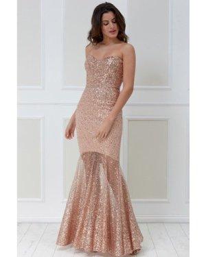 Goddiva Bandeau Bodice Sequin Maxi Dress - Champagne