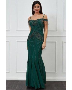 Goddiva Beaded Fringe Bardot Maxi Dress - Emerald