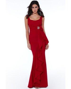 Sleeveless Frill Maxi Dress - Red
