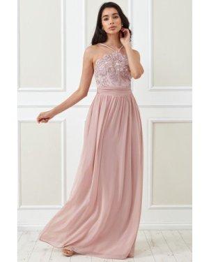 Goddiva Lace Halter Neck Chiffon Skirt Dress - Blush